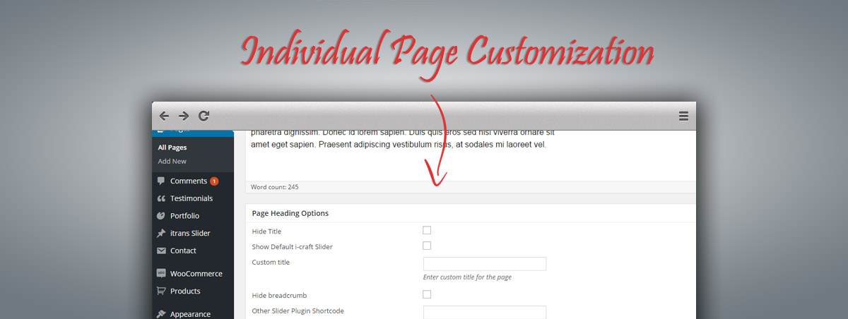 Individual Page Customization